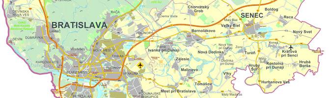 Mapa Bratislavského kraja