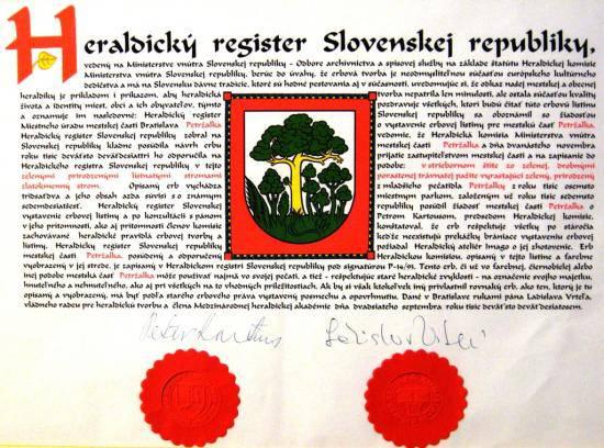 Heraldický register Slovenskej republiky - erb mestskej časti Bratislava-Petržalka